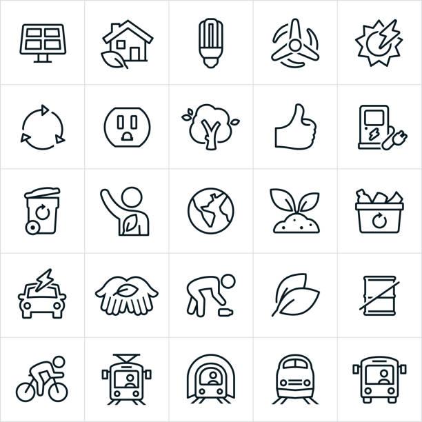 ilustrações, clipart, desenhos animados e ícones de ícones de conservação ambiental - sustainability icons
