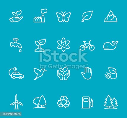 Pixel Perfect - Isolated on Blue - Icon Set #55 Icons are designed in 48x48pх square, outline stroke 2px.  First row of outline icons contains:  Leaf in Human Hand,  Factory icon (Air Pollution), Butterfly, Leaf, Mountain Peak;   Second row contains:  Faucet icon, Growth Plant, Atomic Structure, Bicycle, Whale;  Third row contains:  Electric Car, Hummingbird, Nature Care, Stop Gesture Sign, Electric Plug and Leaf;   Fourth row contains:  Wind Turbine, Tree,  Recycling Symbol, Fuel Pump, Pine Forest.  Complete Bimico collection - https://www.istockphoto.com/collaboration/boards/t8tfiS1uqEecwP9AO9SJmw