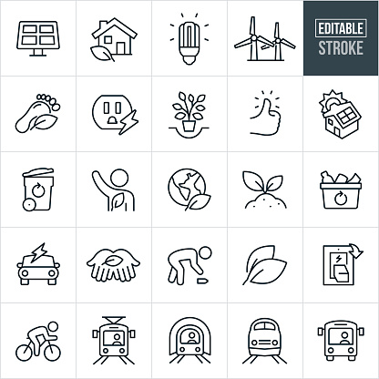 A set of environmental conservation icons that include editable strokes or outlines using the EPS vector file. The icons include s solar panel, house with leaf, compact fluorescent light bulb, windmills, carbon footprint, electrical outlet, tree, thumbs up, solar panel on top of a house, garbage can, environmentalist, person, volunteer, earth, plant growing from soil, recycle bin full of recyclables, electric car, hands holding leaf, person picking up trash, light switch, person riding a bike, public transit, light rail, subway, passenger train and bus.