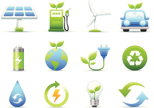 Environmental Green Energy Icons Set Stock Illustration - Download Image Now
