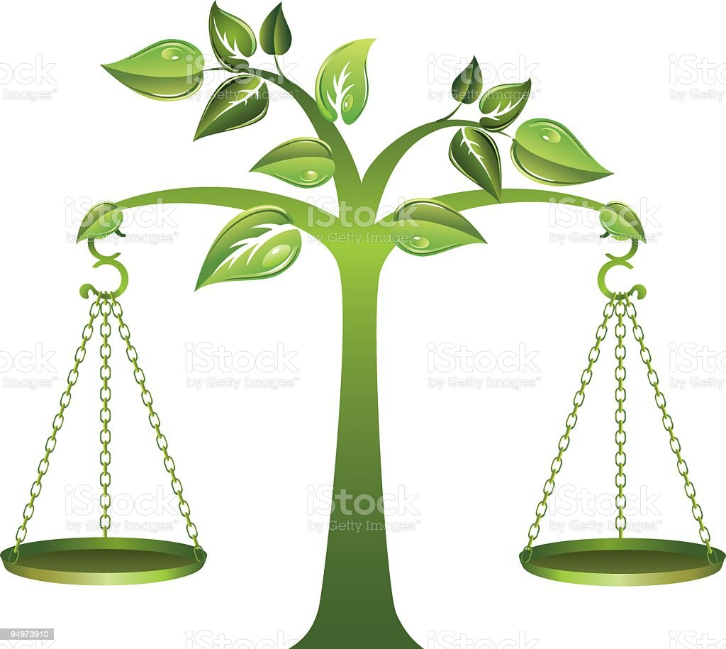 Environmental Green Tree with Balance Scales Hanging Off the Branches royalty-free environmental green tree with balance scales hanging off the branches stock vector art & more images of balance
