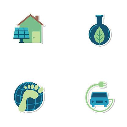 Environmental Icon Sticker Set