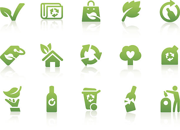 ökologische icons 3 - altglas stock-grafiken, -clipart, -cartoons und -symbole