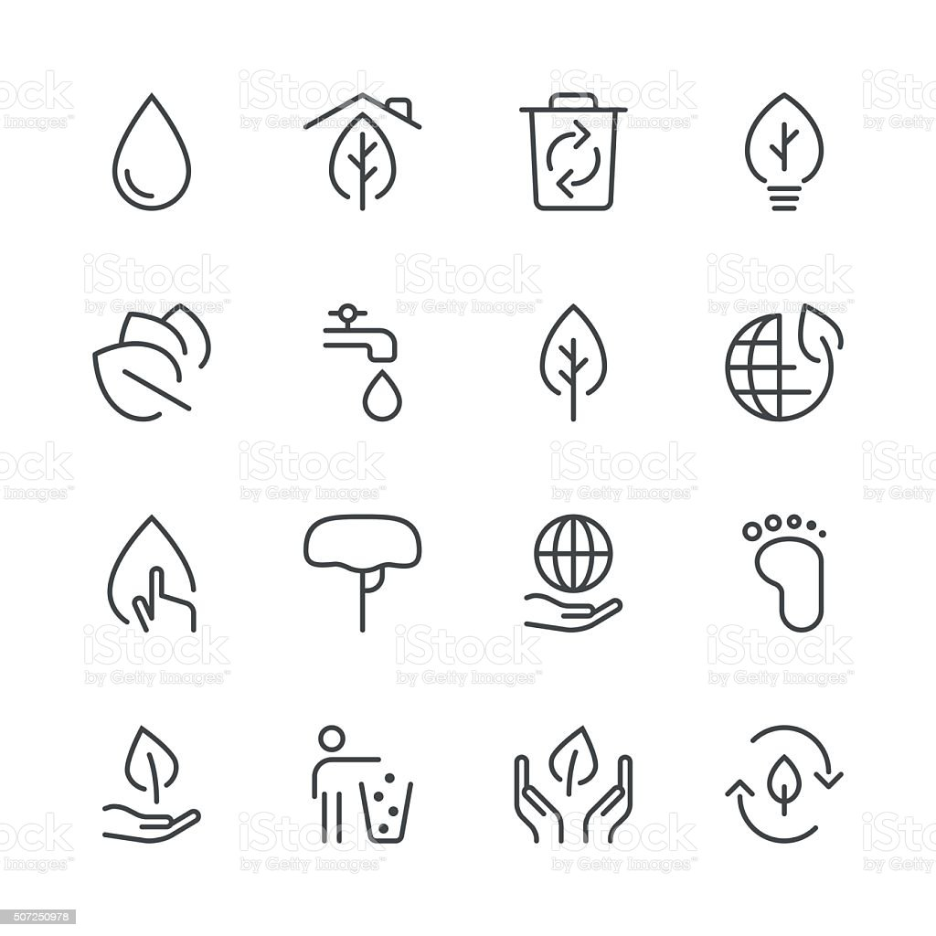 Environmental Icons set 1 | Black Line series vector art illustration