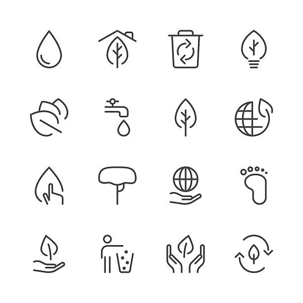 environmental icons set 1 | black line series - sustainability icons stock illustrations