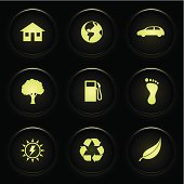 Various environmental icons on glossy black buttons.
