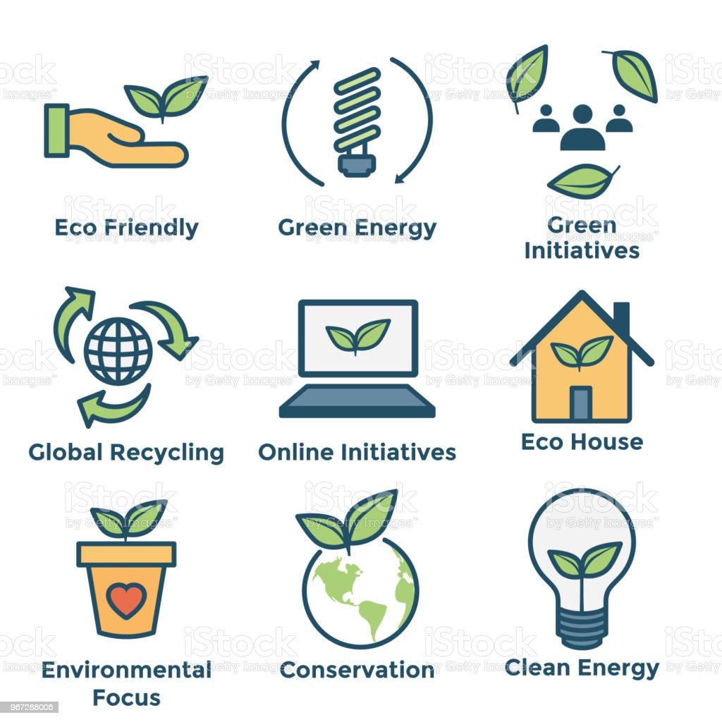 Environmental icons with green energy, eco house, and earth initiatives