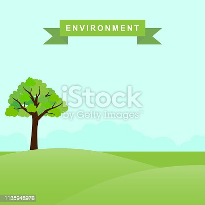 illustration of a fertile natural environment and a tree