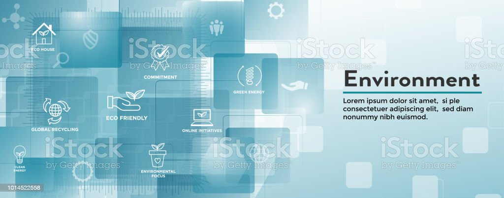Environmental issues header web banner - recycling, etc icon set