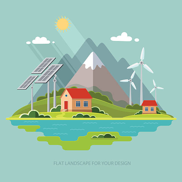 Environmental landscape cottages mountains. Solar and wind energy. Environmental protection Environmental landscape cottages mountains in the background. Solar and wind energy. Environmental protection.  Flat design style vector illustration. solar panels illustrations stock illustrations