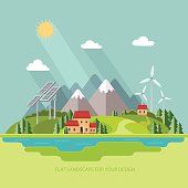 Environmental landscape. Solar and wind energy. Environmental protection. Flat design