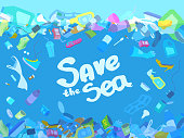 Plastic bottles, bags, shoes, tins, packing containers, straw. Text save the sea. Eco poster, banner.