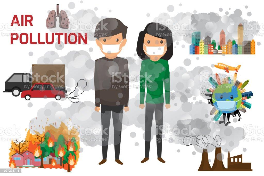 環境汚染のインフォ グラフィック環境への影響についての情報を設定し