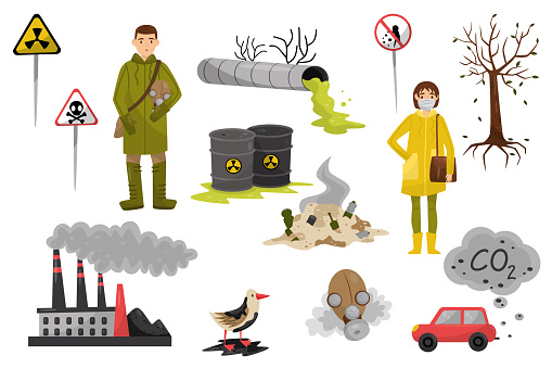 Environmental pollution problems set, pollution of air and water, deforestation, warning signs vector Illustrations on a white background