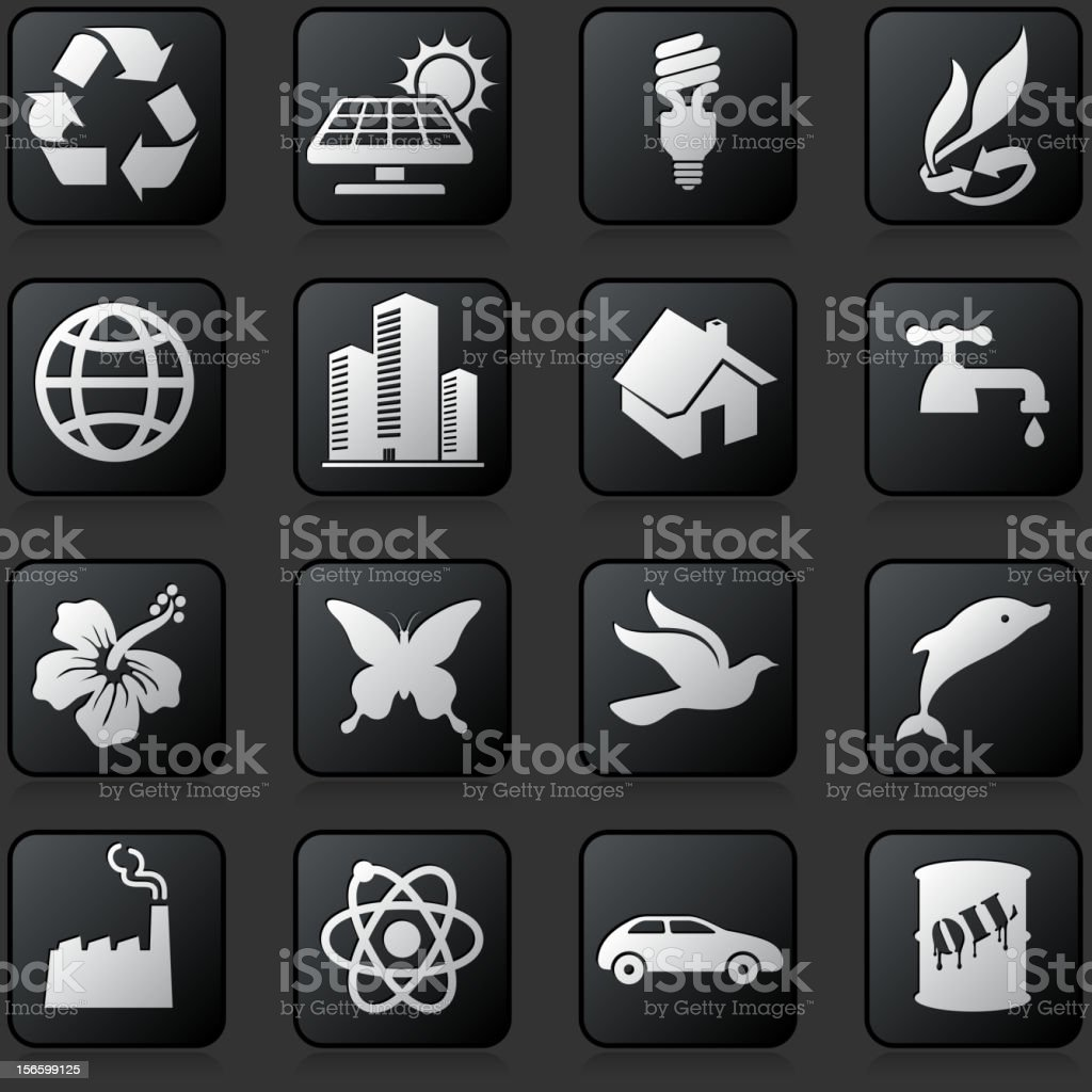 Environmental preservation Black and White Button Set royalty-free stock vector art
