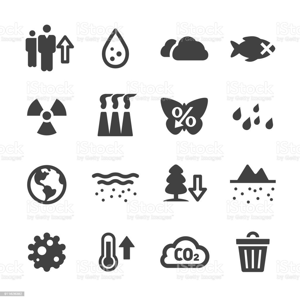 Environmental Problems Icons - Acme Series vector art illustration