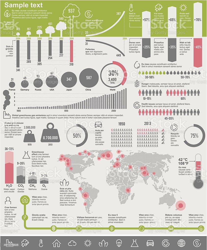 Environmental problems infographic elements vector art illustration