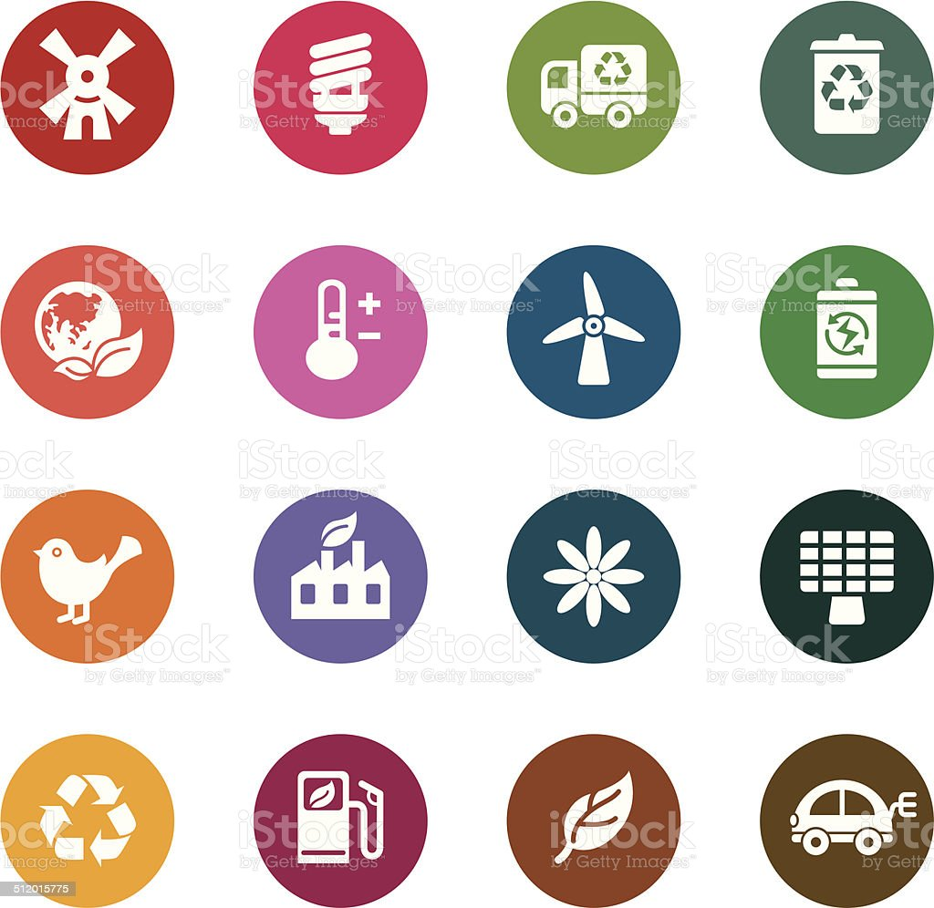 Environmental Protection Color Icons vector art illustration