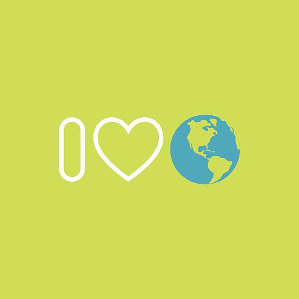 bildbanksillustrationer, clip art samt tecknat material och ikoner med environmental protection concept. i love earth. earth day poster. - recycling heart