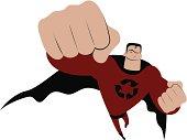 Vector illustration – Environmental Superhero to the Rescue!