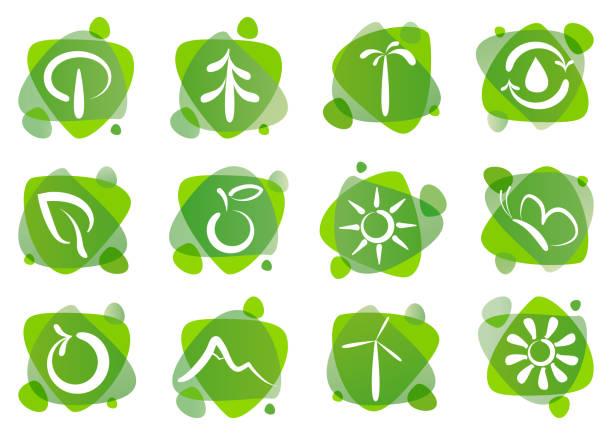 environmental symbols - fossilized leaves stock illustrations