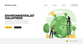 Environmentalist Concept Vector Illustration for Landing Page Template, Website Banner, Advertisement and Marketing Material, Online Advertising, Business Presentation etc.