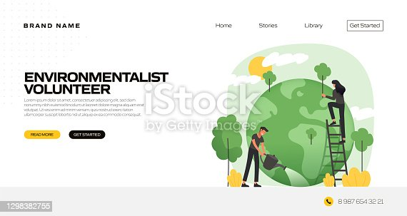 istock Environmentalist Concept Vector Illustration for Landing Page Template, Website Banner, Advertisement and Marketing Material, Online Advertising, Business Presentation etc. 1298382755