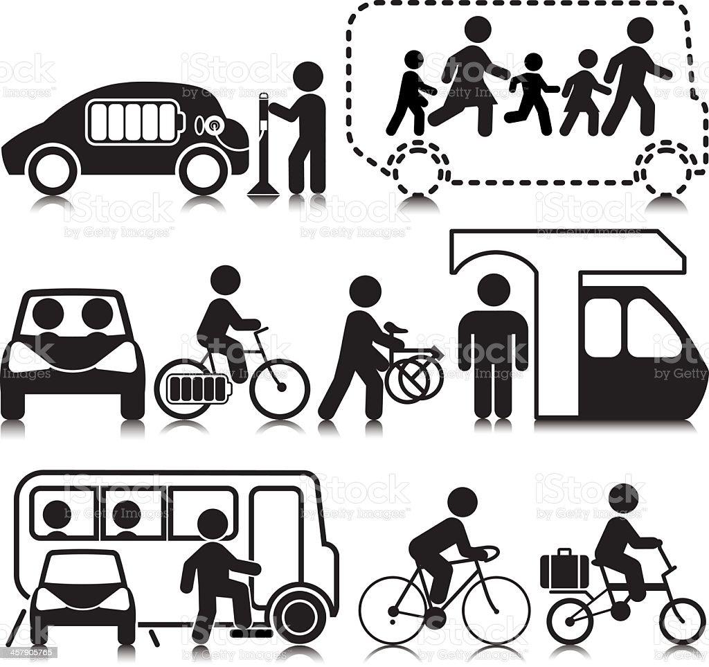 Transporte respetuoso con el medio ambiente - ilustración de arte vectorial