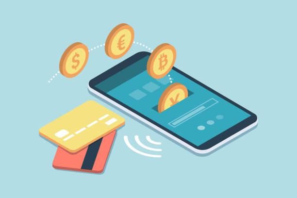 stockillustraties, clipart, cartoons en iconen met e-betalingen en transacties op mobiele apparaten - mobiele betaling