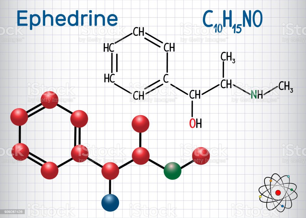 Ephedrin Molekül Ist Ein Medikament Und Stimulans Chemische Formel ...