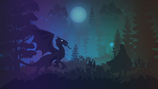 Epic battle of the magician and the dragon in the forest. Vector illustration for the design of children's and teen books in the style of fantasy and science fiction.