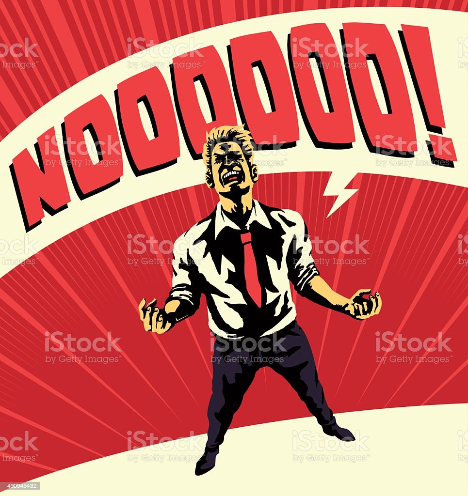 Epic Nooooo! Comic book style disappointed man screaming no, frustration royalty-free epic nooooo comic book style disappointed man screaming no frustration stock vector art & more images of 2015