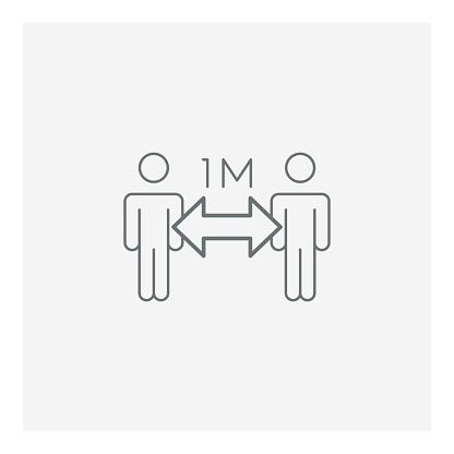 Epidemic Social Distance Icon Stock Illustration - Download Image Now