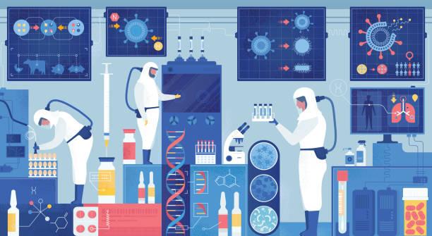 ilustraciones, imágenes clip art, dibujos animados e iconos de stock de vacuna del virus del laboratorio de epidemiología o investigación de medicamentos - covid 19 vaccine