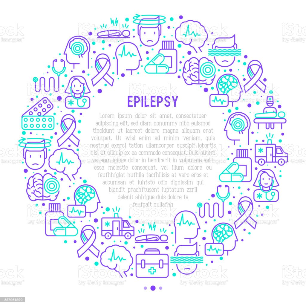 Epilepsy concept in circle with thin line icons of symptoms and treatments: convulsion, disorder, dizziness, brain scan. World epilepsy day. Vector illustration for banner, web page, print media. vector art illustration