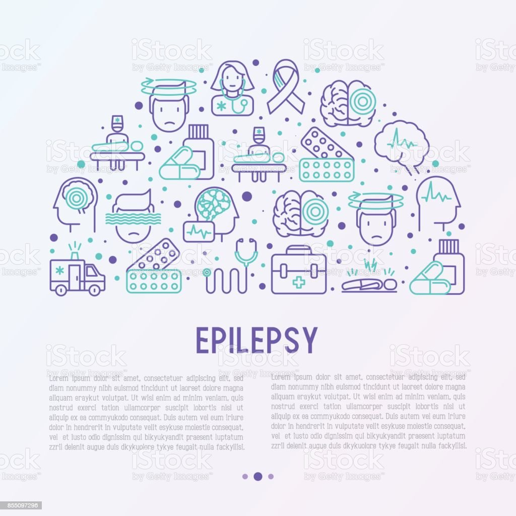 Epilepsy concept in half circle with thin line icons of symptoms and treatments: convulsion, disorder, dizziness, brain scan. World epilepsy day. Vector illustration for banner, web page, print media. vector art illustration