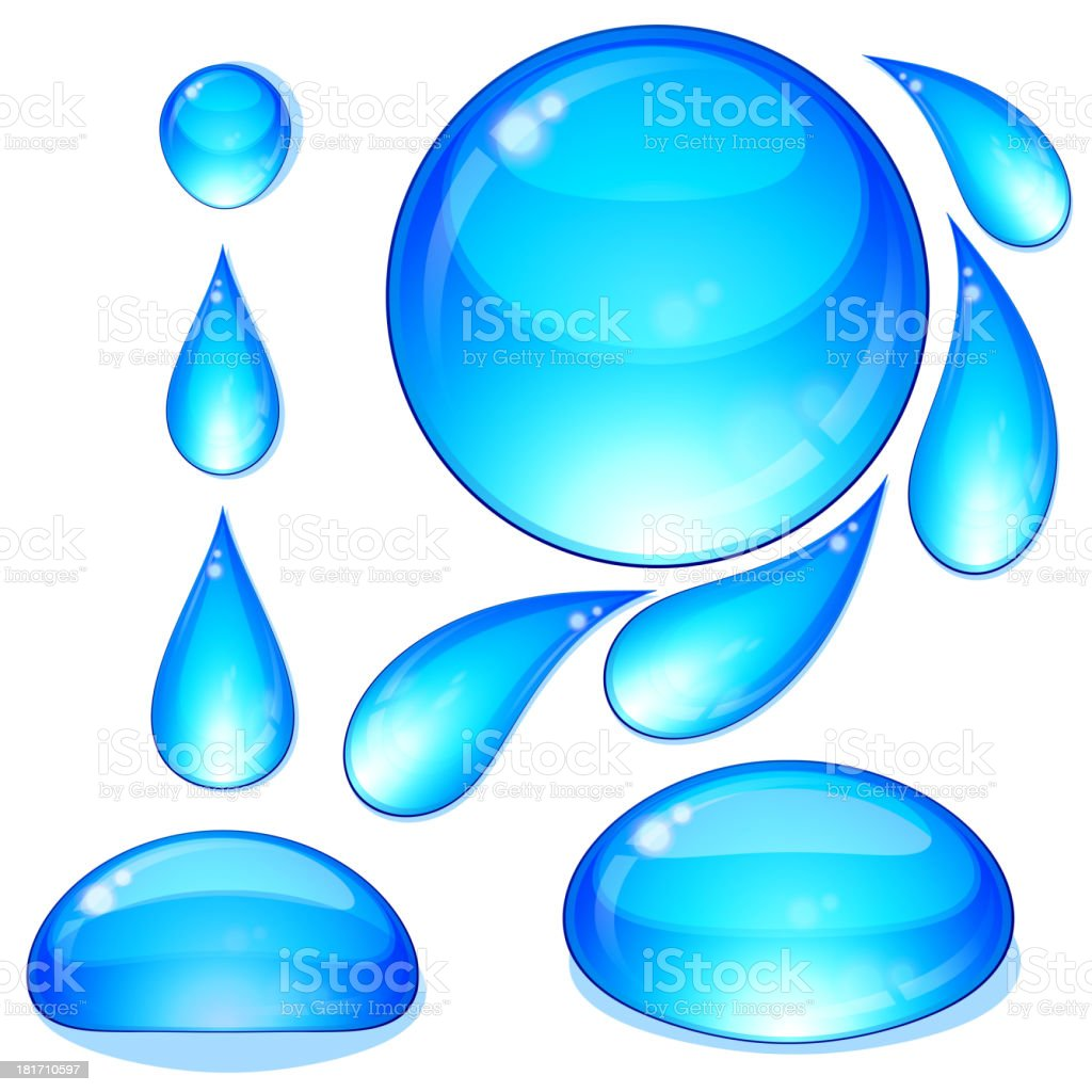 Eps Set of water drops and bubbles. royalty-free stock vector art