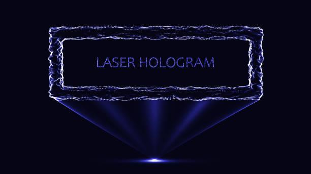 eps10. hologramm neonrahmen auf schwarzem hintergrund. partikelsystem. - dashboard, hintergrund, hell stock-grafiken, -clipart, -cartoons und -symbole