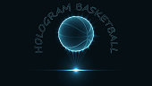 eps10. Hologram of a basketball ball. Neon glow of a silhouette of dots and triangles. Abstract vector background.