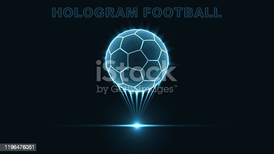 eps10. Hologram of a soccer ball. Neon glow of a silhouette of dots and triangles. Abstract vector background.