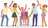 Equal opportunity Happy group of students. Young people, wheelchair disabled girl in flat design isolated on white background. Vector illustration eps 10.