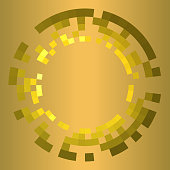 Equal proportions and angle. Checkered golden sectors. In five concentric circles around copy space.