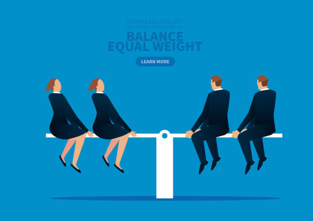 Equal weight, business woman and male businessman balancing on the seesaw Equal weight, business woman and male businessman balancing on the seesaw battle of the sexes concept stock illustrations