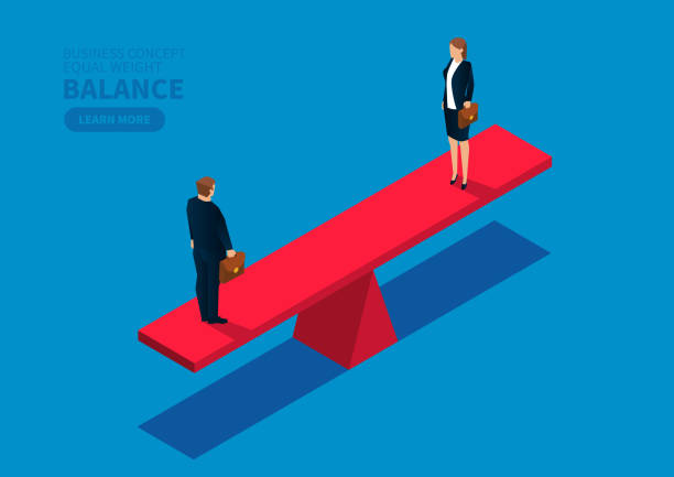Equal weight male businessman and businesswoman Equal weight male businessman and businesswoman equality stock illustrations