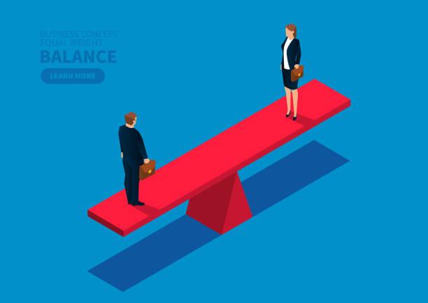 동등한 무게 남성 사업가와 사업가 - 균형 stock illustrations