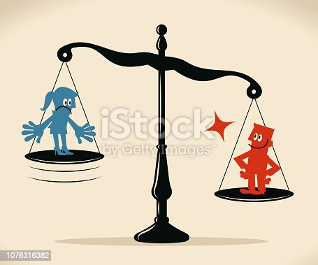 Blue Little Guy Characters Full Length Vector art illustration.Copy Space. Equal-arm balance scale with businesswoman and businessman.