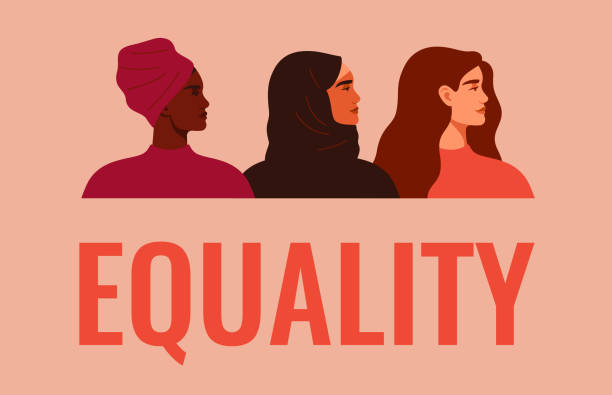 Equality banner. Three women of different nationalities and cultures standing together. Equality banner. Three women of different nationalities and cultures standing together. Friendship poster, the union of feminists or sisterhood. The concept of gender equality. Vector women's suffrage stock illustrations