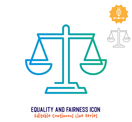 Equality & Fairness Continuous Line Editable Stroke Line