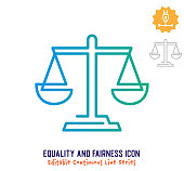 istock Equality & Fairness Continuous Line Editable Stroke Line 1251101208