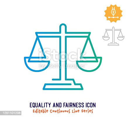 Equality and fairness vector icon illustration for logo, emblem or symbol use. Part of continuous one line minimalistic drawing series. Design elements with editable gradient stroke line.